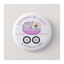 Badge de naissance fille avec poussette