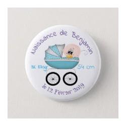Badge de naissance garcon avec poussette