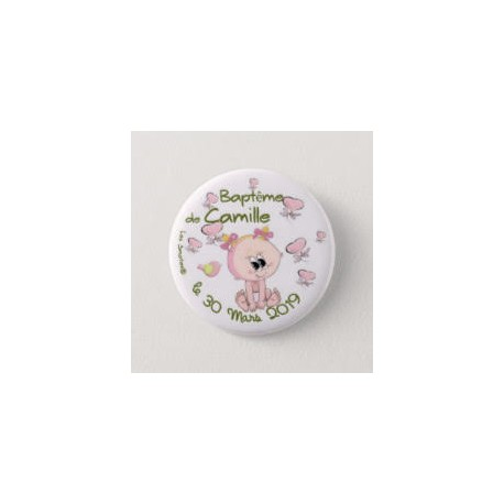 Badge de baptême fille avec papillons