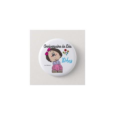 Badge de baptême fille avec fleurs