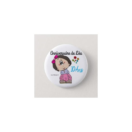 Girl birthday badge with flowers