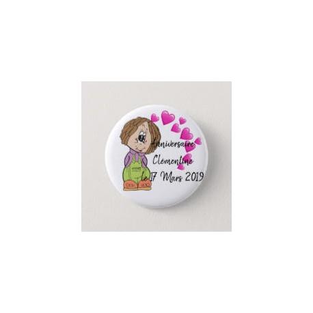 Badge de d'anniversaire fille avec cœurs