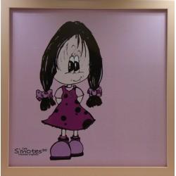 Cadre décoration chambre de Léa petite fille debout cadre bois fond rose